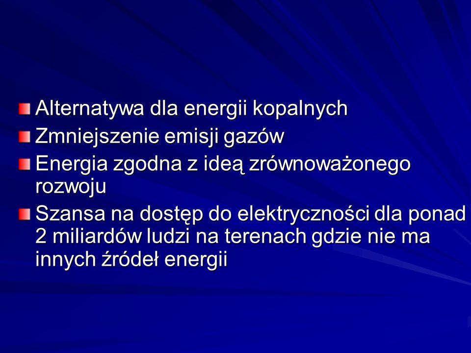 Alternatywa dla energii kopalnych Zmniejszenie emisji gazów Energia zgodna z ideą zrównoważonego rozwoju Szansa na dostęp do elektryczności dla ponad