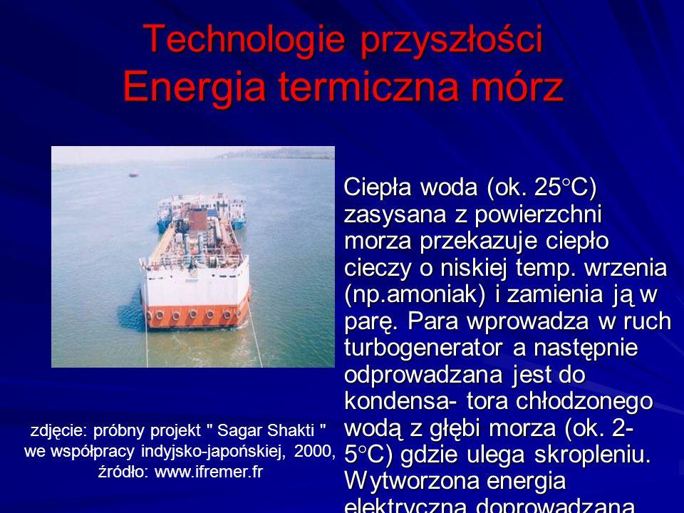 Technologie przyszłości Energia termiczna mórz Ciepła woda (ok. 25°C) zasysana z powierzchni morza przekazuje ciepło cieczy o niskiej temp. wrzenia (n