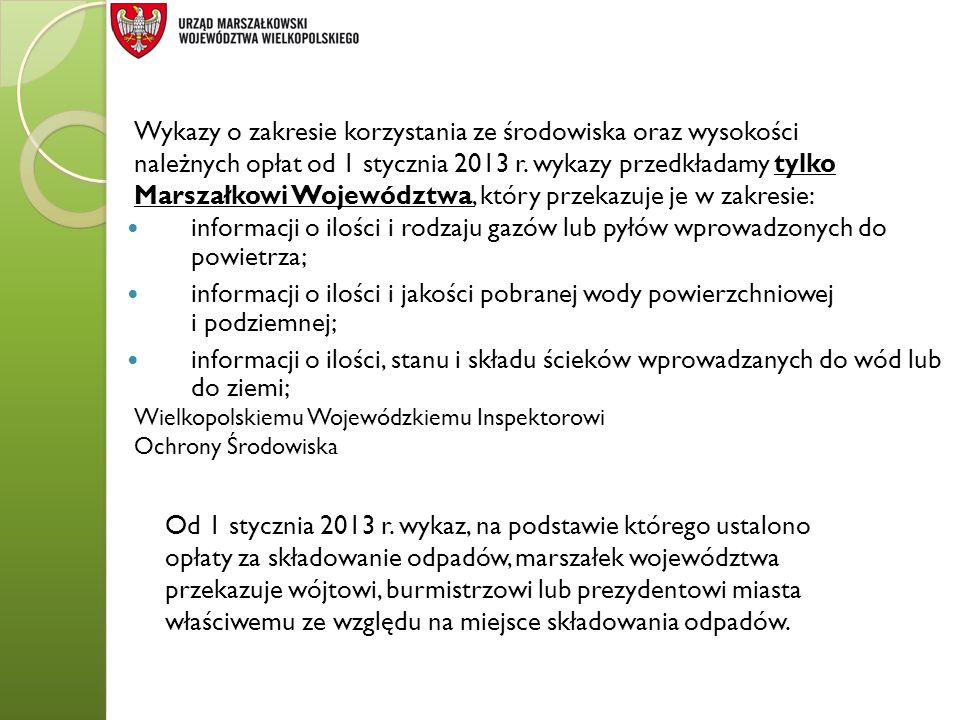 Wykazy o zakresie korzystania ze środowiska oraz wysokości należnych opłat od 1 stycznia 2013 r. wykazy przedkładamy tylko Marszałkowi Województwa, kt