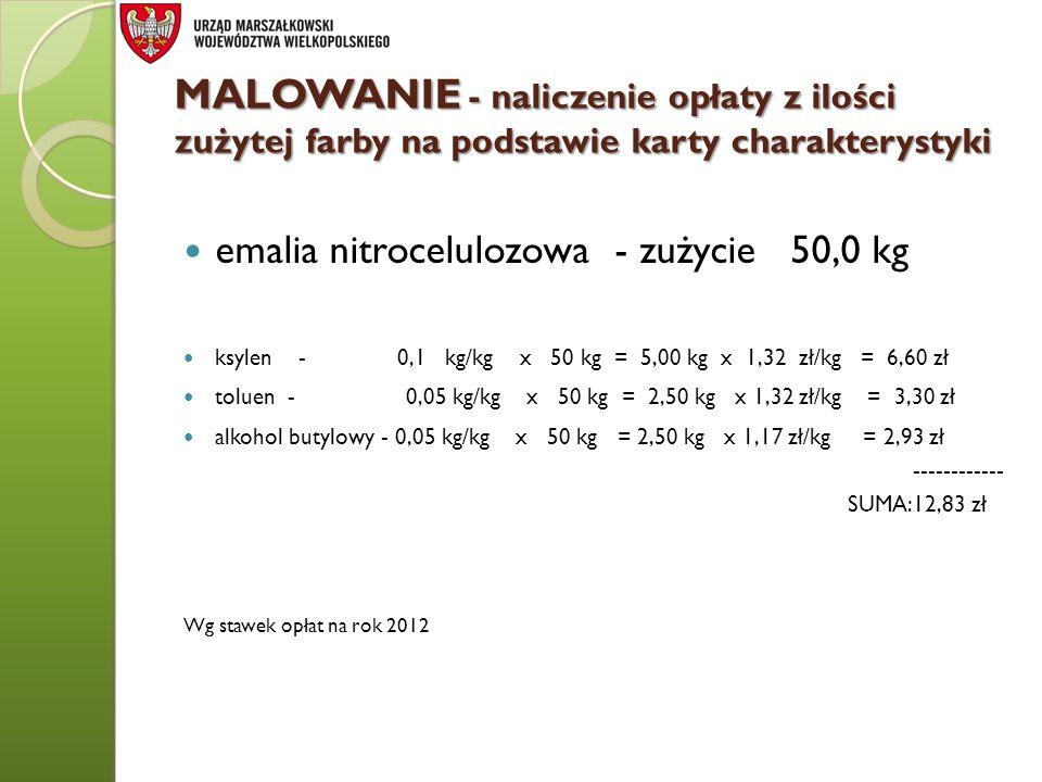 MALOWANIE - naliczenie opłaty z ilości zużytej farby na podstawie karty charakterystyki emalia nitrocelulozowa - zużycie 50,0 kg ksylen - 0,1 kg/kg x
