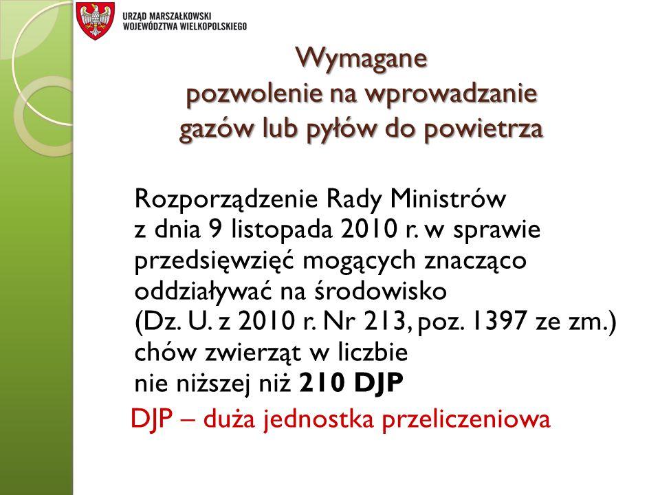 Wymagane pozwolenie na wprowadzanie gazów lub pyłów do powietrza Rozporządzenie Rady Ministrów z dnia 9 listopada 2010 r. w sprawie przedsięwzięć mogą