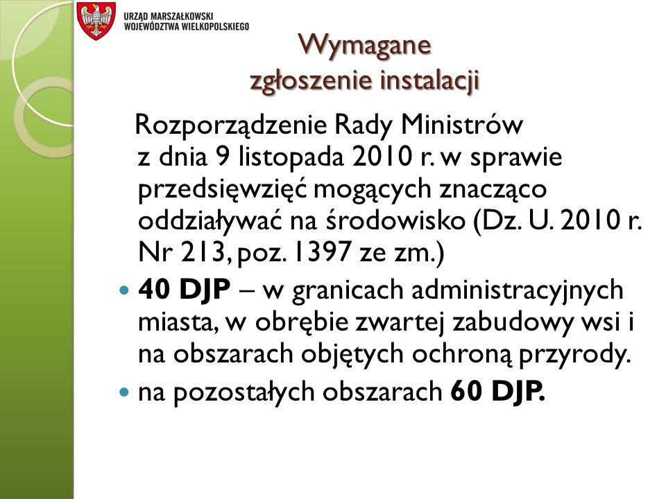 Wymagane zgłoszenie instalacji Rozporządzenie Rady Ministrów z dnia 9 listopada 2010 r. w sprawie przedsięwzięć mogących znacząco oddziaływać na środo