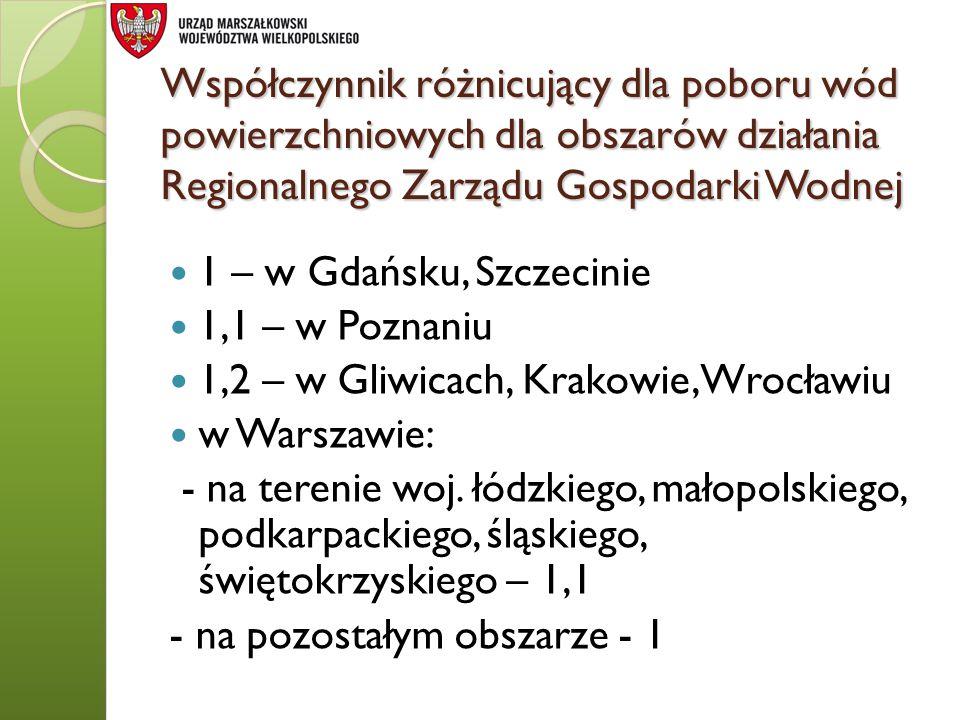 Współczynnik różnicujący dla poboru wód powierzchniowych dla obszarów działania Regionalnego Zarządu Gospodarki Wodnej 1 – w Gdańsku, Szczecinie 1,1 –