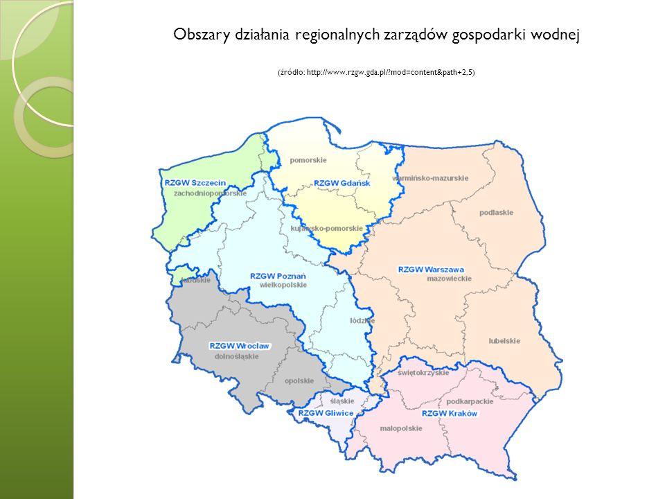 Obszary działania regionalnych zarządów gospodarki wodnej (źródło: http://www.rzgw.gda.pl/?mod=content&path+2,5)