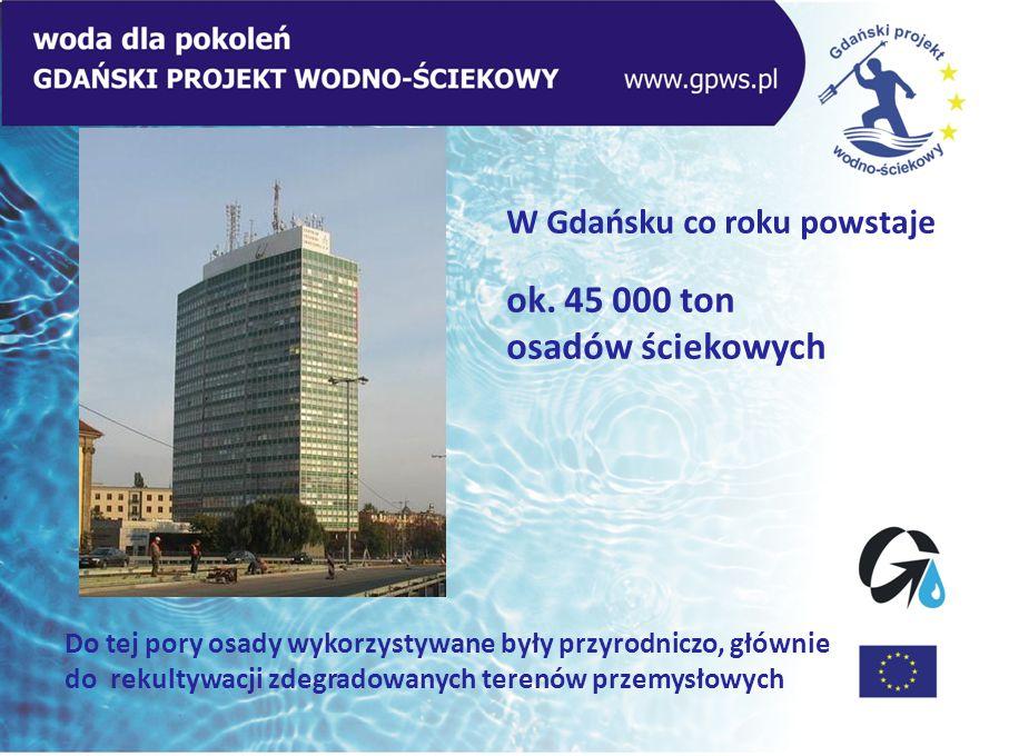 W Gdańsku co roku powstaje ok. 45 000 ton osadów ściekowych Do tej pory osady wykorzystywane były przyrodniczo, głównie do rekultywacji zdegradowanych