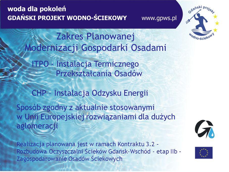 Zakres Planowanej Modernizacji Gospodarki Osadami ITPO - Instalacja Termicznego Przekształcania Osadów CHP – Instalacja Odzysku Energii Realizacja pla