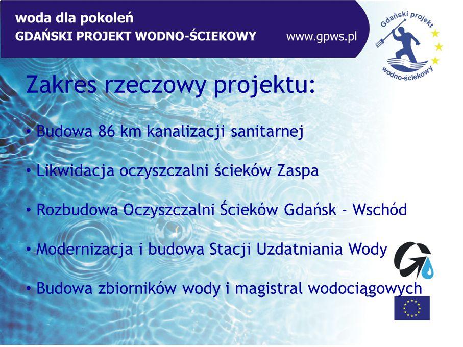 Zakres rzeczowy projektu: Budowa 86 km kanalizacji sanitarnej Likwidacja oczyszczalni ścieków Zaspa Rozbudowa Oczyszczalni Ścieków Gdańsk - Wschód Mod