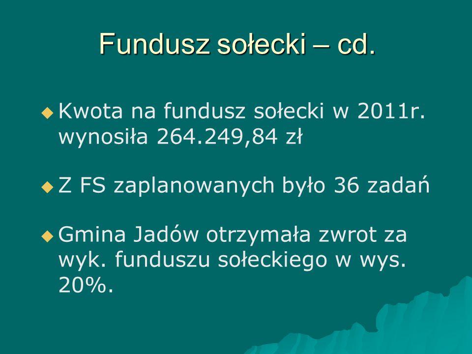 Fundusz sołecki – cd.   Kwota na fundusz sołecki w 2011r. wynosiła 264.249,84 zł   Z FS zaplanowanych było 36 zadań   Gmina Jadów otrzymała zwro