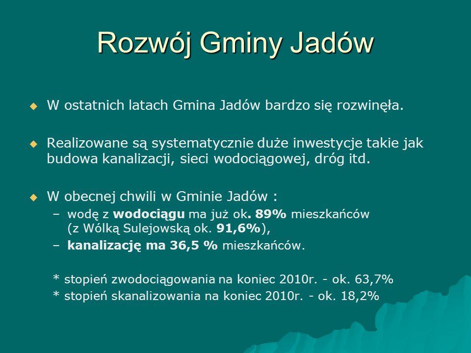 Rozwój Gminy Jadów   W ostatnich latach Gmina Jadów bardzo się rozwinęła.   Realizowane są systematycznie duże inwestycje takie jak budowa kanaliz