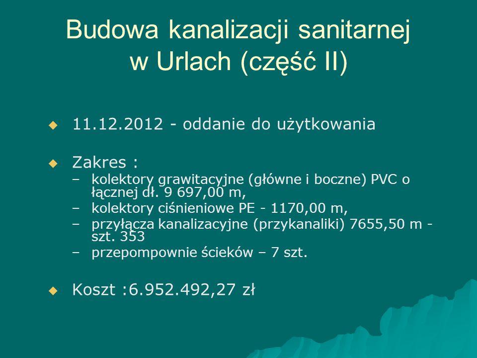 Budowa kanalizacji sanitarnej w Urlach (część II)   11.12.2012 - oddanie do użytkowania   Zakres : – –kolektory grawitacyjne (główne i boczne) PVC