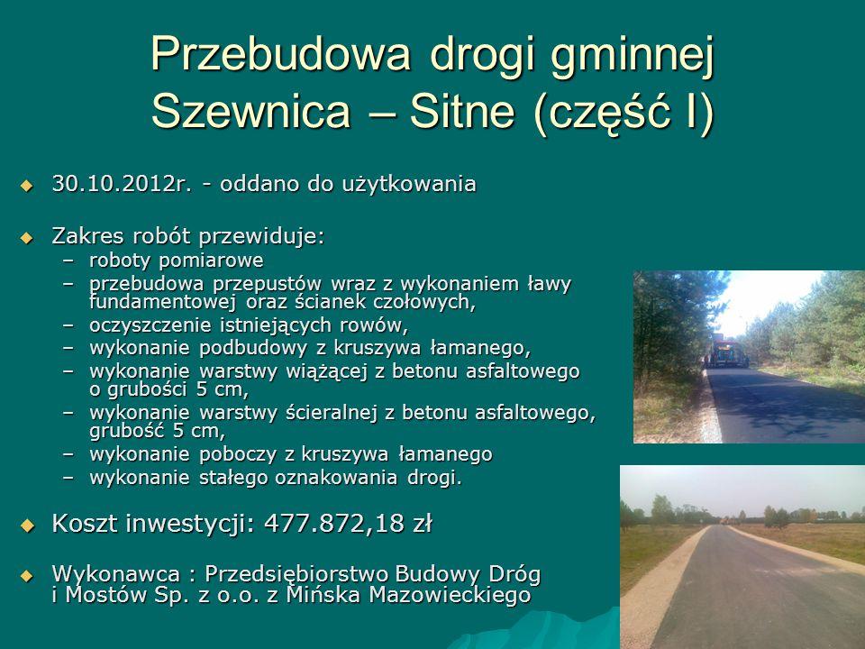 Przebudowa drogi gminnej Szewnica – Sitne (część I)  30.10.2012r. - oddano do użytkowania  Zakres robót przewiduje: –roboty pomiarowe –przebudowa pr