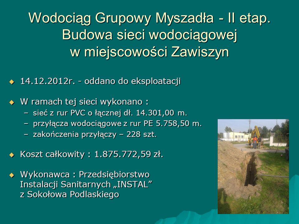 Wodociąg Grupowy Myszadła - II etap. Budowa sieci wodociągowej w miejscowości Zawiszyn  14.12.2012r. - oddano do eksploatacji  W ramach tej sieci wy
