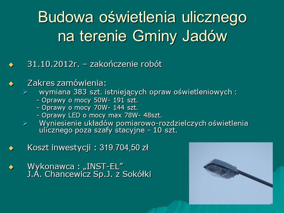 Budowa oświetlenia ulicznego na terenie Gminy Jadów  31.10.2012r. – zakończenie robót  Zakres zamówienia:  wymiana 383 szt. istniejących opraw oświ