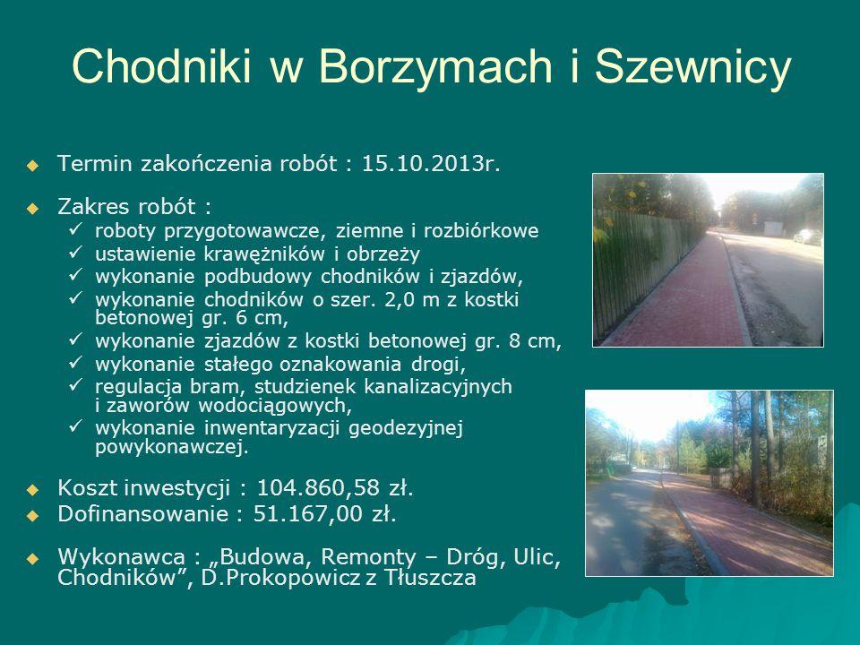 Chodniki w Borzymach i Szewnicy   Termin zakończenia robót : 15.10.2013r.   Zakres robót : roboty przygotowawcze, ziemne i rozbiórkowe ustawienie