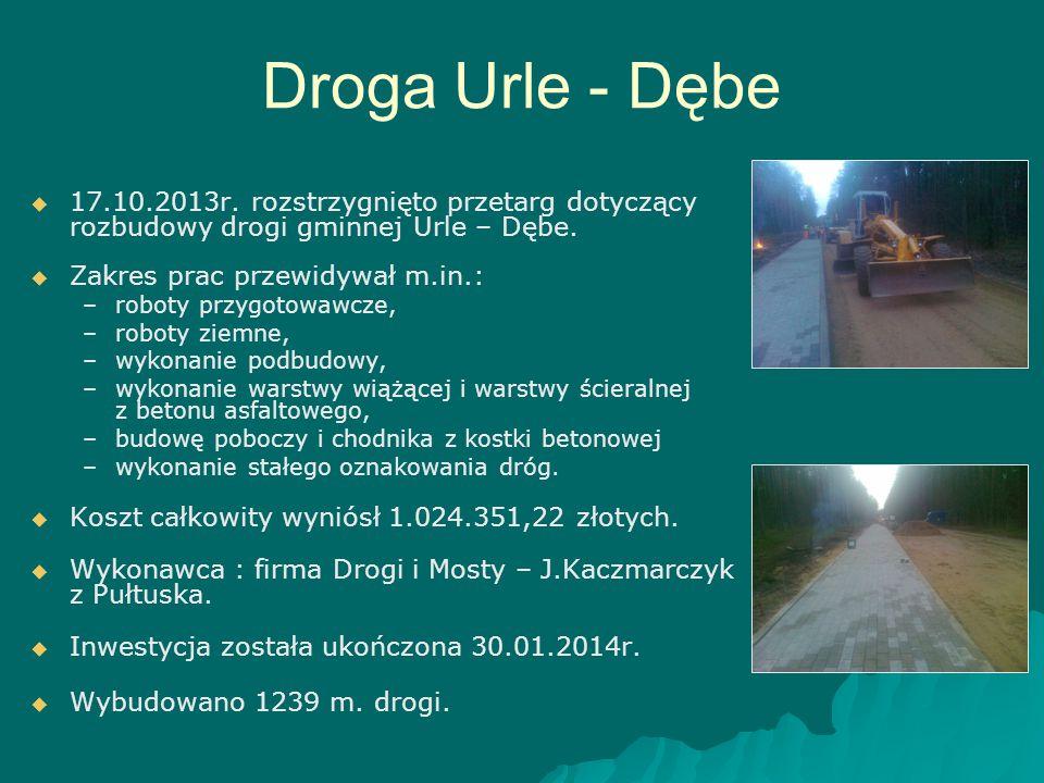 Droga Urle - Dębe   17.10.2013r. rozstrzygnięto przetarg dotyczący rozbudowy drogi gminnej Urle – Dębe.   Zakres prac przewidywał m.in.: – –roboty