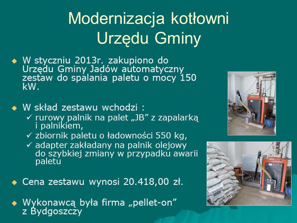 Modernizacja kotłowni Urzędu Gminy   W styczniu 2013r. zakupiono do Urzędu Gminy Jadów automatyczny zestaw do spalania paletu o mocy 150 kW.   W s