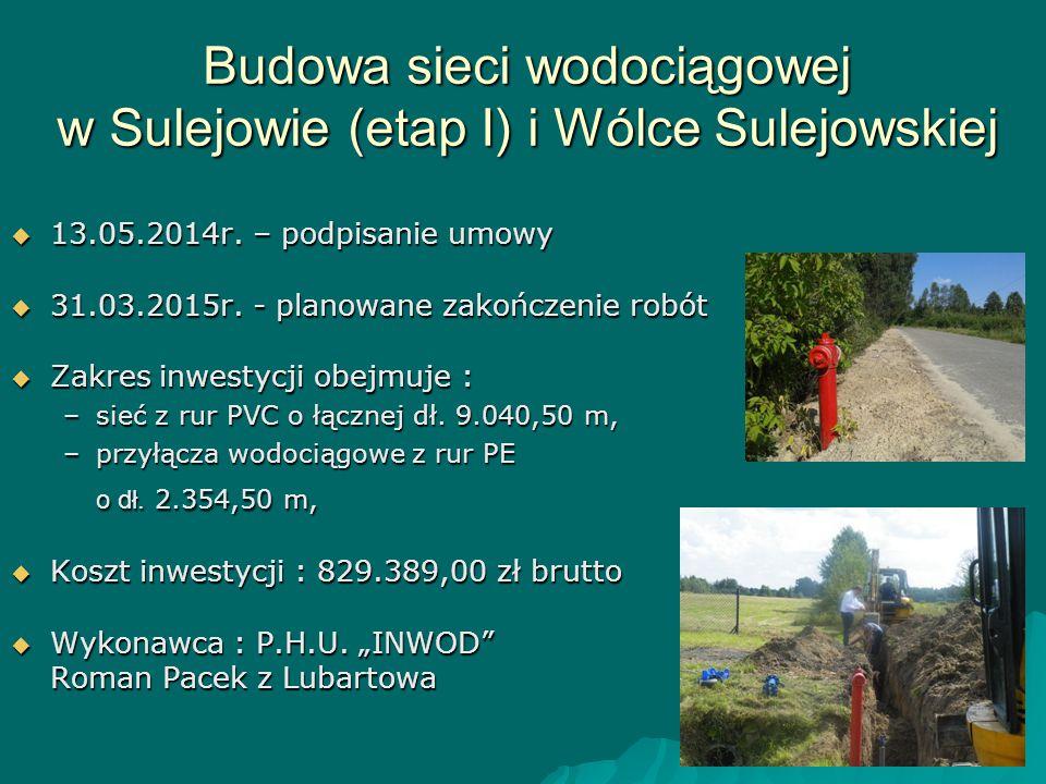 Budowa sieci wodociągowej w Sulejowie (etap I) i Wólce Sulejowskiej  13.05.2014r. – podpisanie umowy  31.03.2015r. - planowane zakończenie robót  Z