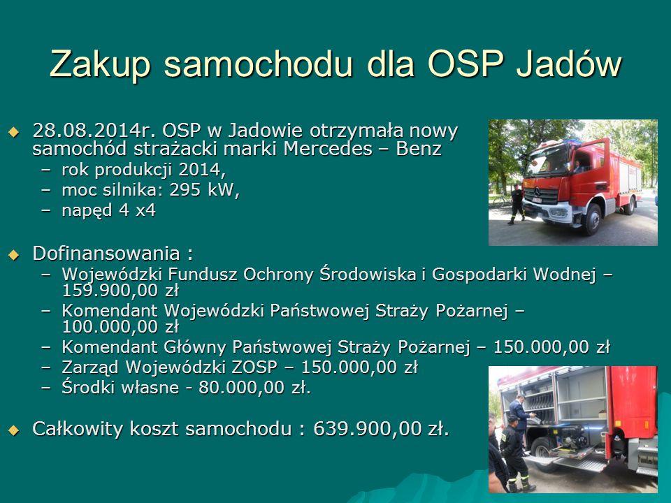 Zakup samochodu dla OSP Jadów  28.08.2014r. OSP w Jadowie otrzymała nowy samochód strażacki marki Mercedes – Benz –rok produkcji 2014, –moc silnika: