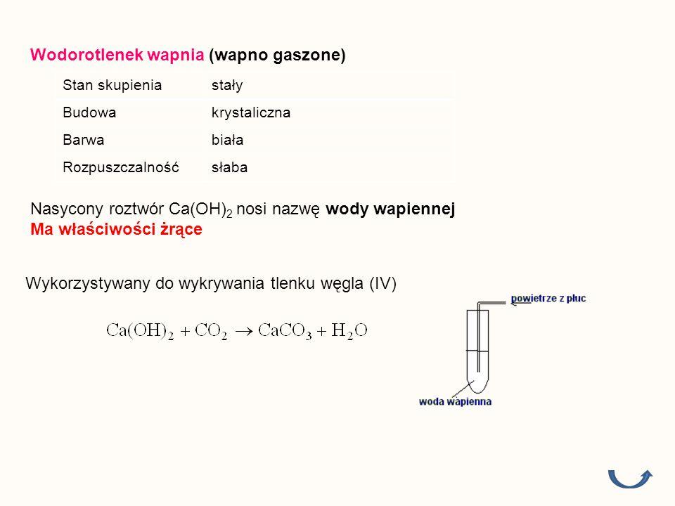 Wodorotlenek wapnia (wapno gaszone) Stan skupieniastały Budowakrystaliczna Barwabiała Rozpuszczalnośćsłaba Wykorzystywany do wykrywania tlenku węgla (IV) Nasycony roztwór Ca(OH) 2 nosi nazwę wody wapiennej Ma właściwości żrące