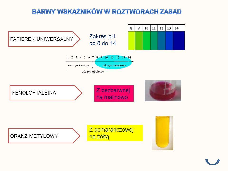 PAPIEREK UNIWERSALNY FENOLOFTALEINA Z bezbarwnej na malinowo ORANŻ METYLOWY Z pomarańczowej na żółtą Zakres pH od 8 do 14