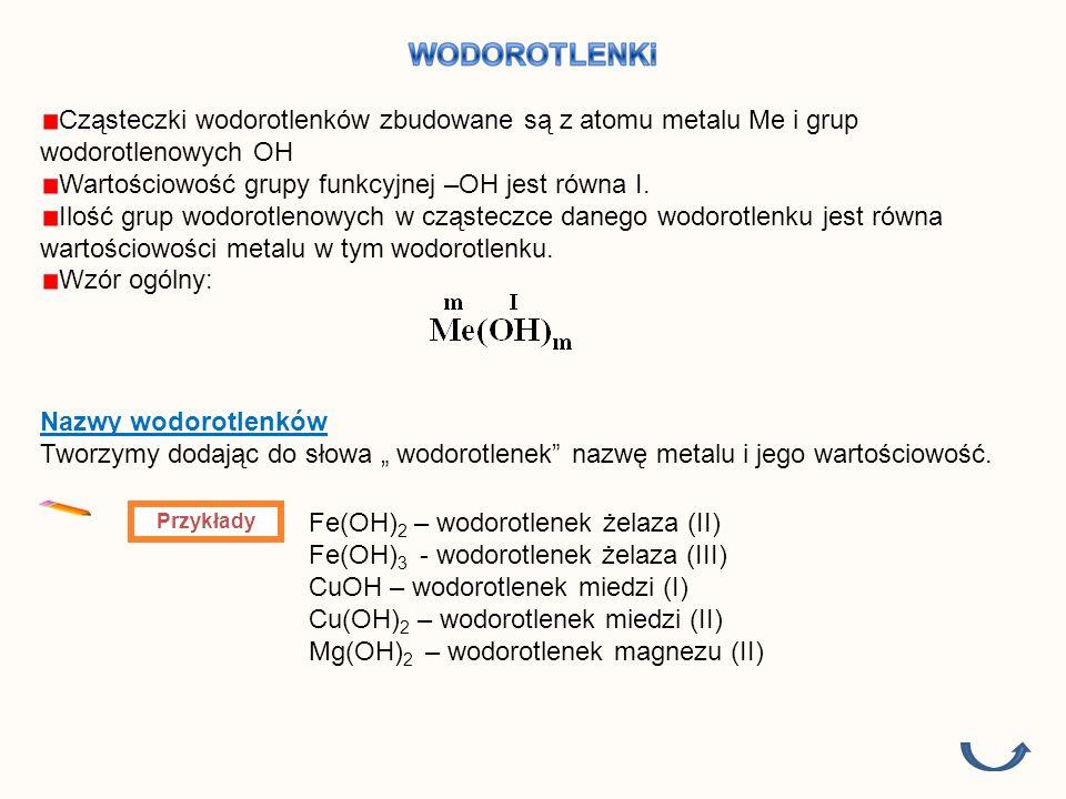Cząsteczki wodorotlenków zbudowane są z atomu metalu Me i grup wodorotlenowych OH Wartościowość grupy funkcyjnej –OH jest równa I.
