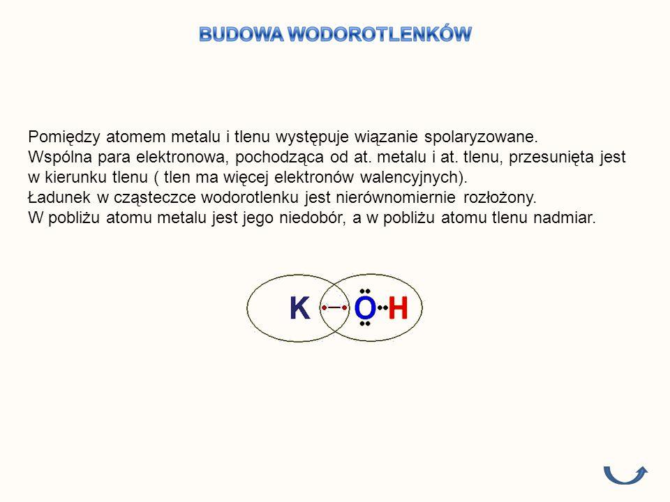 Przy ustalaniu wzorów sumarycznych pamiętajmy, że: Tlen jest zawsze dwuwartościowy, a wodór jedno Metal łączy się z grupą wodorotlenową poprzez tlen Wzór sumaryczny Wzór strukturalny NaOH KOH Ca(OH) 2 Mg(OH) 2 Al(OH) 3