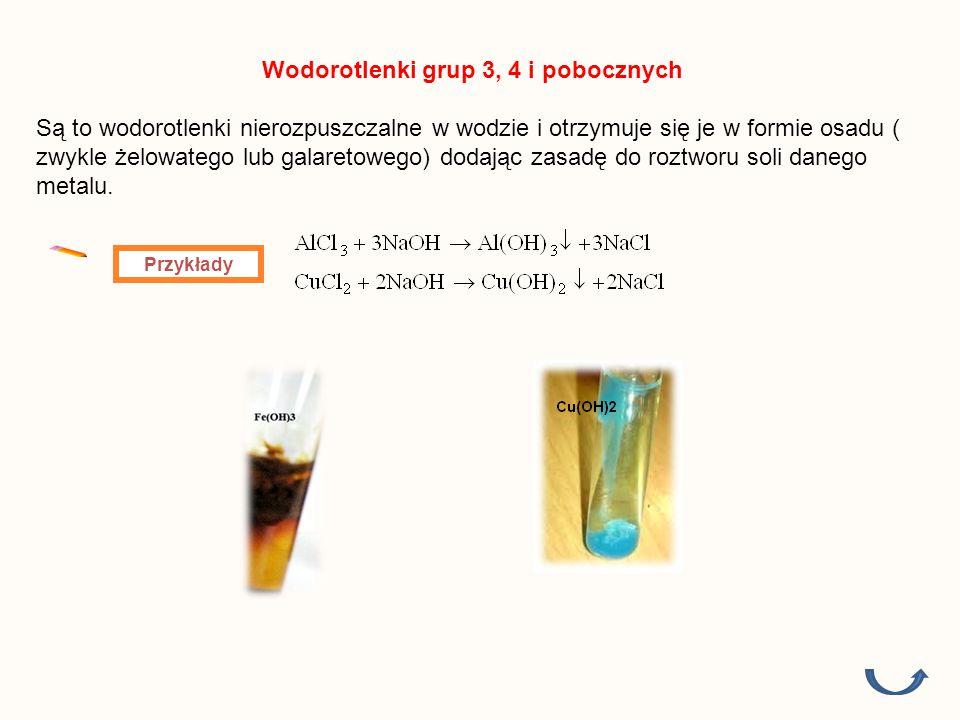 Wodorotlenki grup 3, 4 i pobocznych Są to wodorotlenki nierozpuszczalne w wodzie i otrzymuje się je w formie osadu ( zwykle żelowatego lub galaretowego) dodając zasadę do roztworu soli danego metalu.