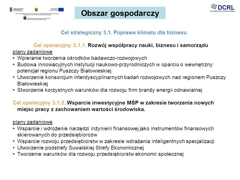 Obszar gospodarczy Cel strategiczny 3.1. Poprawa klimatu dla biznesu Cel operacyjny 3.1.1. Rozwój współpracy nauki, biznesu i samorządu plany zadaniow