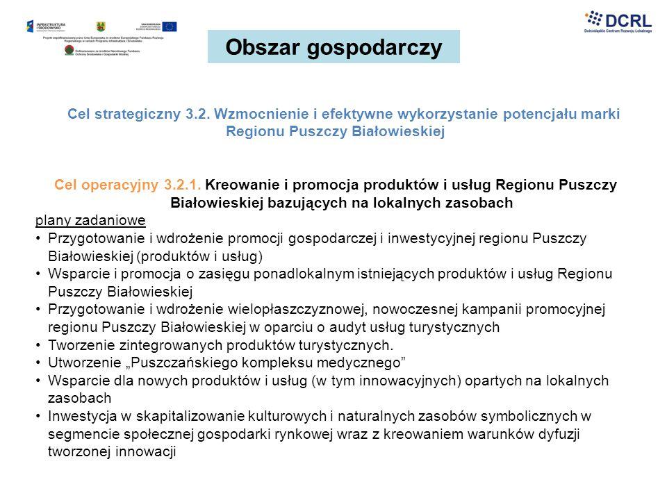Obszar gospodarczy Cel strategiczny 3.2. Wzmocnienie i efektywne wykorzystanie potencjału marki Regionu Puszczy Białowieskiej Cel operacyjny 3.2.1. Kr