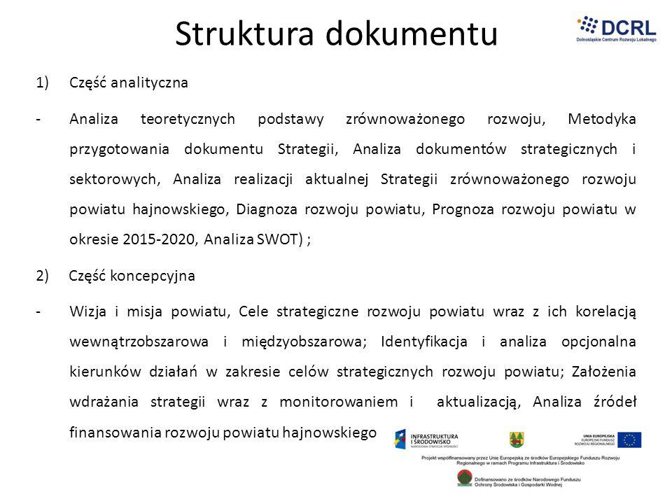 Struktura dokumentu 1)Część analityczna -Analiza teoretycznych podstawy zrównoważonego rozwoju, Metodyka przygotowania dokumentu Strategii, Analiza do