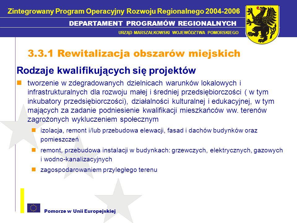 Pomorze w Unii Europejskiej Rodzaje kwalifikujących się projektów tworzenie w zdegradowanych dzielnicach warunków lokalowych i infrastrukturalnych dla