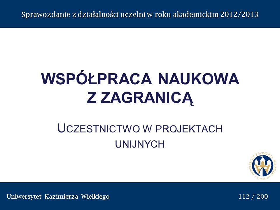 Uniwersytet Kazimierza Wielkiego 112 / 200 Uniwersytet Kazimierza Wielkiego 112 / 200 Sprawozdanie z dzia ł alno ś ci uczelni w roku akademickim 2012/