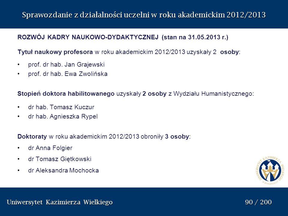 Uniwersytet Kazimierza Wielkiego 90 / 200 Uniwersytet Kazimierza Wielkiego 90 / 200 Sprawozdanie z dzia ł alno ś ci uczelni w roku akademickim 2012/20