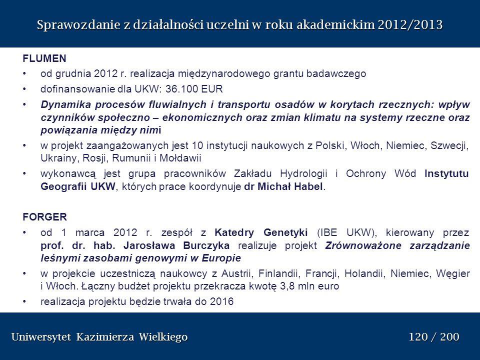 Uniwersytet Kazimierza Wielkiego 120 / 200 Uniwersytet Kazimierza Wielkiego 120 / 200 Sprawozdanie z dzia ł alno ś ci uczelni w roku akademickim 2012/