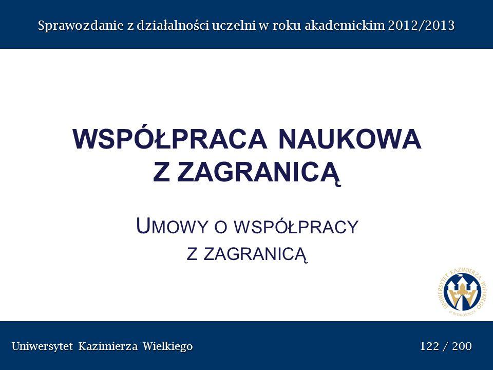 Uniwersytet Kazimierza Wielkiego 122 / 200 Uniwersytet Kazimierza Wielkiego 122 / 200 Sprawozdanie z dzia ł alno ś ci uczelni w roku akademickim 2012/