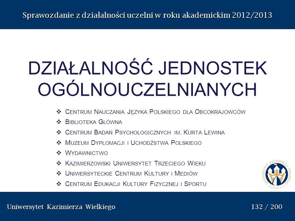 Uniwersytet Kazimierza Wielkiego 132 / 200 Uniwersytet Kazimierza Wielkiego 132 / 200 Sprawozdanie z dzia ł alno ś ci uczelni w roku akademickim 2012/