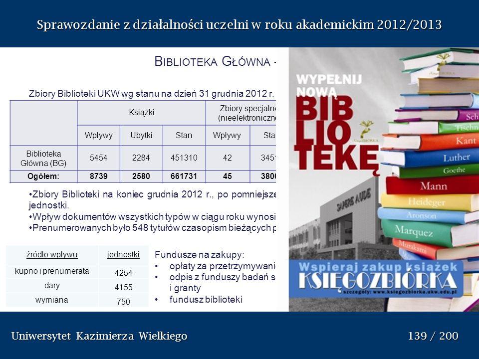 Sprawozdanie z dzia ł alno ś ci uczelni w roku akademickim 2012/2013 B IBLIOTEKA G ŁÓWNA – ZBIORY Zbiory Biblioteki UKW wg stanu na dzień 31 grudnia 2