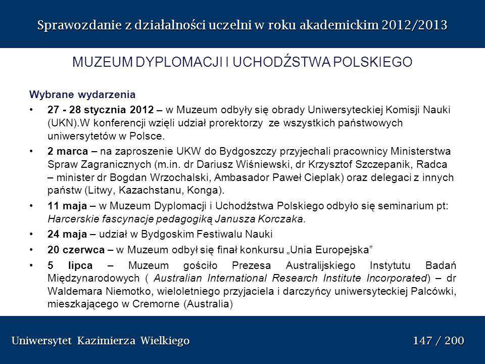 Uniwersytet Kazimierza Wielkiego 147 / 200 Uniwersytet Kazimierza Wielkiego 147 / 200 Sprawozdanie z dzia ł alno ś ci uczelni w roku akademickim 2012/