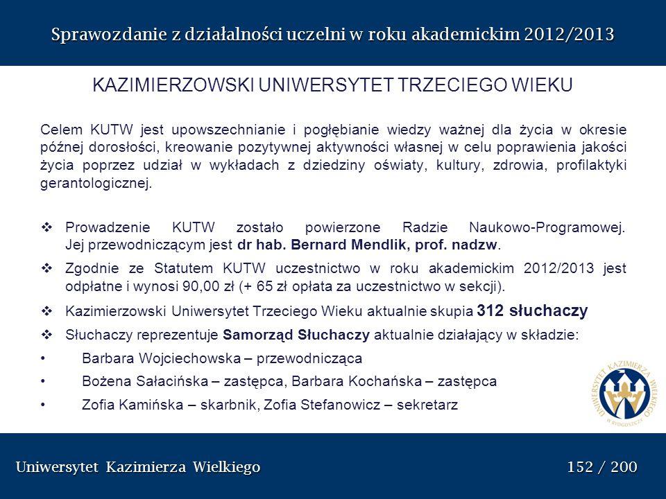 Uniwersytet Kazimierza Wielkiego 152 / 200 Uniwersytet Kazimierza Wielkiego 152 / 200 Sprawozdanie z dzia ł alno ś ci uczelni w roku akademickim 2012/