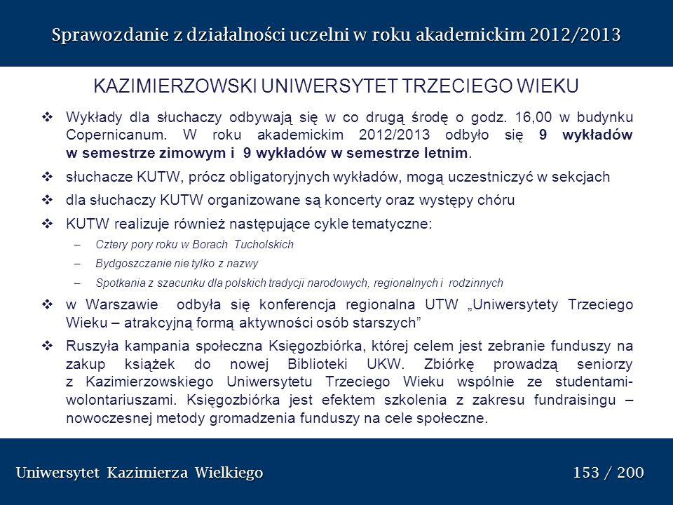Uniwersytet Kazimierza Wielkiego 153 / 200 Uniwersytet Kazimierza Wielkiego 153 / 200 Sprawozdanie z dzia ł alno ś ci uczelni w roku akademickim 2012/