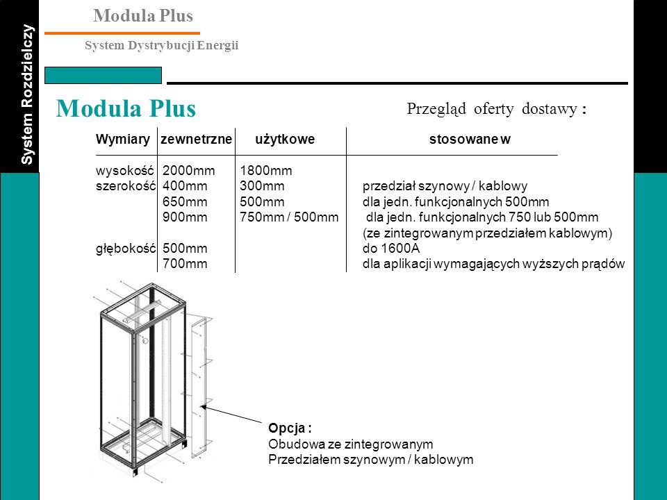 System Rozdzielczy Modula Plus System Dystrybucji Energii Modula Plus Przegląd oferty dostawy : Opcja : Obudowa ze zintegrowanym Przedziałem szynowym