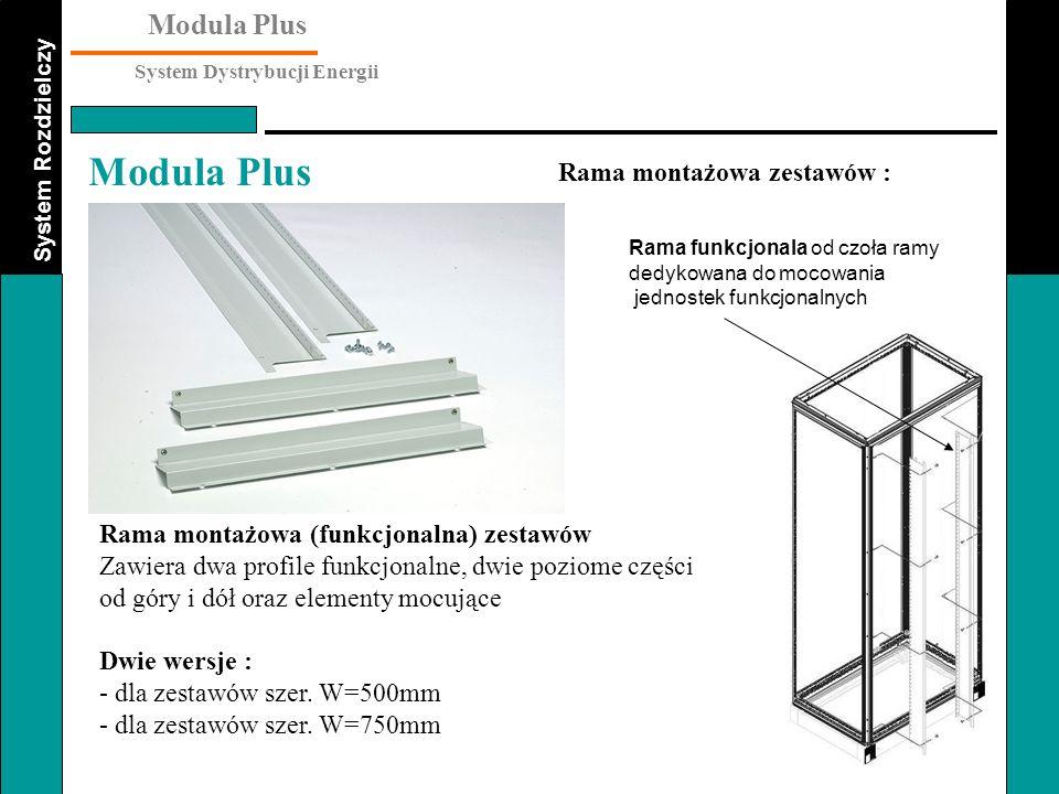 System Rozdzielczy Modula Plus System Dystrybucji Energii Modula Plus Rama montażowa (funkcjonalna) zestawów Zawiera dwa profile funkcjonalne, dwie po