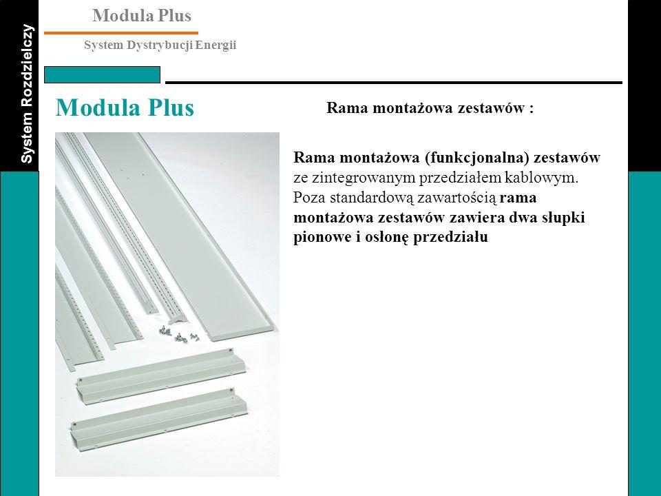 System Rozdzielczy Modula Plus System Dystrybucji Energii Modula Plus Rama montażowa (funkcjonalna) zestawów ze zintegrowanym przedziałem kablowym. Po