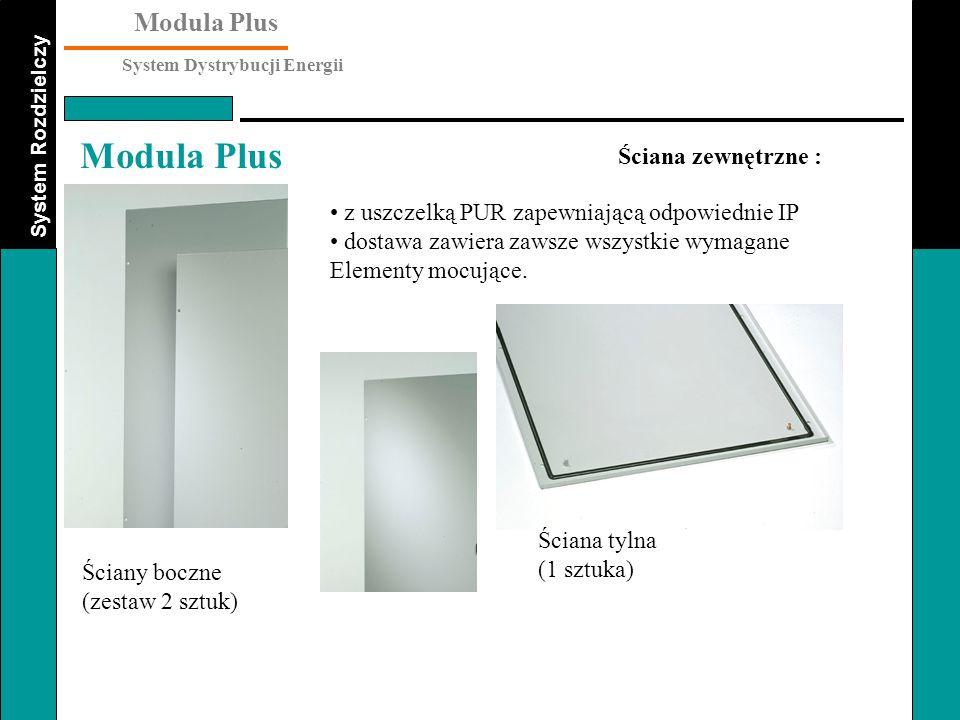 System Rozdzielczy Modula Plus System Dystrybucji Energii Modula Plus Ściana zewnętrzne : Ściany boczne (zestaw 2 sztuk) z uszczelką PUR zapewniającą