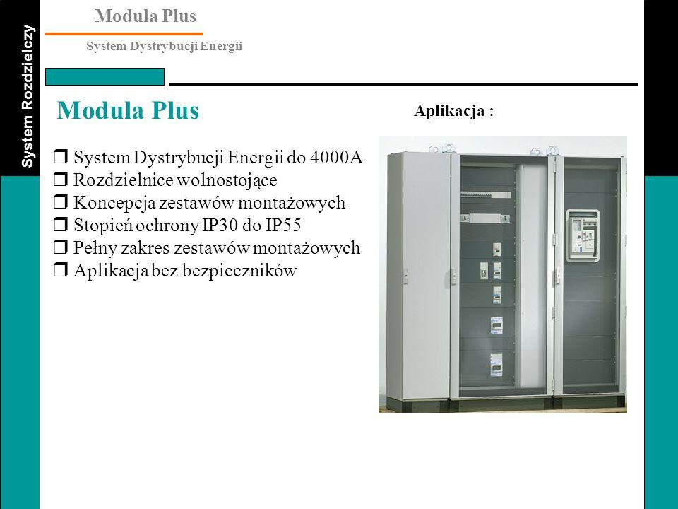 System Rozdzielczy Modula Plus System Dystrybucji Energii Modula Plus Zestawy Montażowe : Płyty montażowe posiadają wycięcia oferujące dużo miejsca na podłączenie zasilania do aparatów.