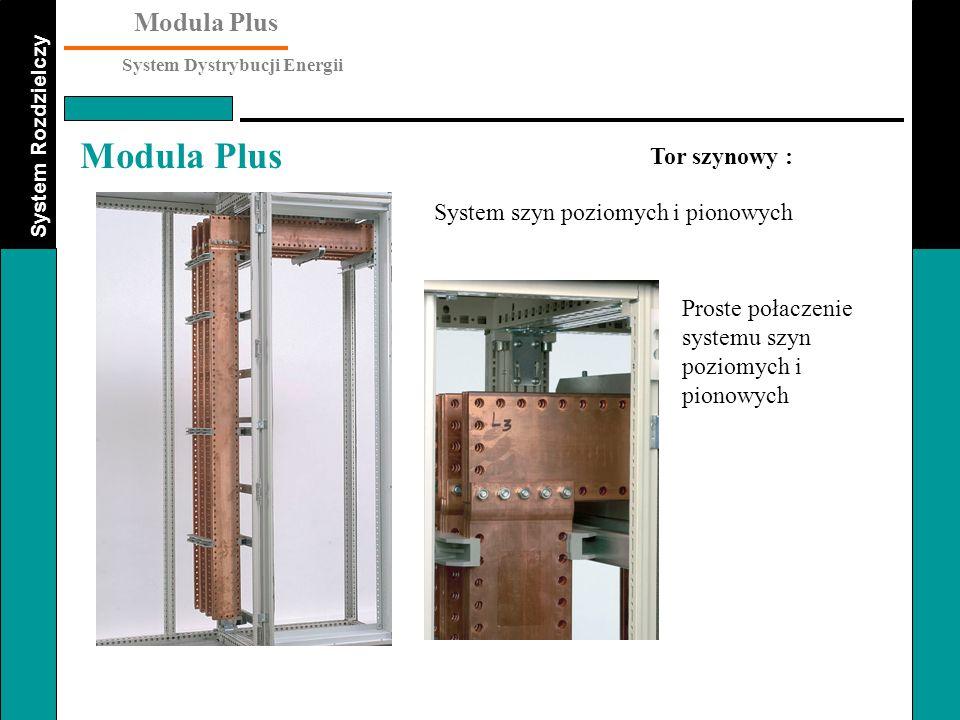 System Rozdzielczy Modula Plus System Dystrybucji Energii Modula Plus Tor szynowy : System szyn poziomych i pionowych Proste połaczenie systemu szyn p