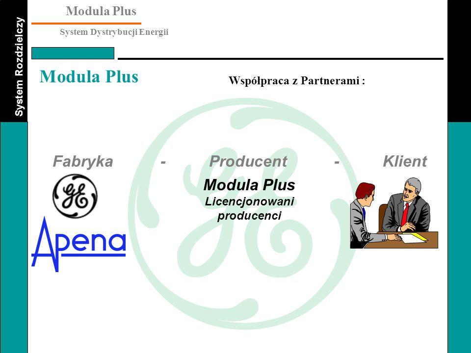 System Rozdzielczy Modula Plus System Dystrybucji Energii Modula Plus Współpraca z Partnerami : Fabryka - Producent - Klient Modula Plus Licencjonowan