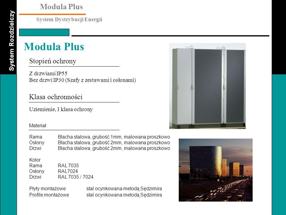 System Rozdzielczy Modula Plus System Dystrybucji Energii Modula Plus Dane techniczne Dane elektryczne : Znamionowe napięcie robocze Ue690V Znamionowe napięcie izolacji Ui1000V Częstotliwość znamionowa50-60Hz Prąd znamionowy szyn zbiorczych : - szyny główne u góryIP553000A IP304000A - szyny pionowe IP553000A IP304000A Znamionowy prąd wytrzymywany Icw70kA /1s Dane mechaniczne : WymiaryWys.2000mm Głęb.500, 700mm Szer.400, 650, 900mm Separacja wewnętrzaforma 1, forma 2 forma 3 (szafy zasilające) Normy IEC EN 60439 część 1