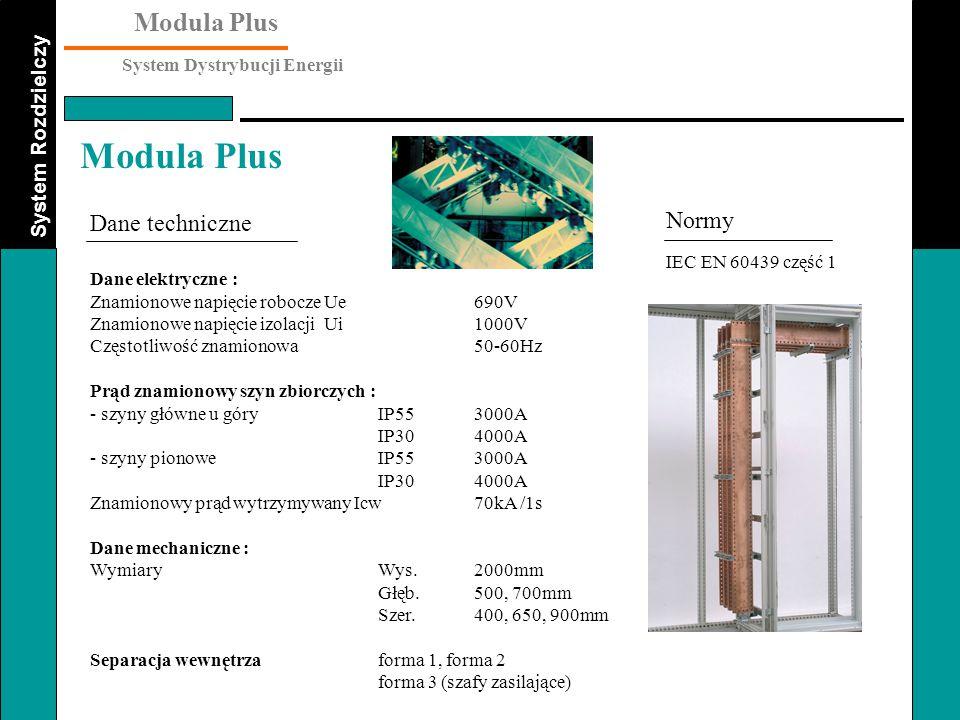 System Rozdzielczy Modula Plus System Dystrybucji Energii Modula Plus Wykonania standardowe Szafy zasilające : Wyłączniki powietrzne 400 do 2500Amocowane na stałe wysuwne Rozłączniki do 3200A mocowane na stałe z bezpiecznikiem lub bez Wyłączniki kompaktowe up to 1600A mocowane na stałe wtykowe Obwody wyjściowe : Wyłączniki kompaktowe up to 1600A mocowane na stałe lub wtykowe Rozłączniki do 2500A mocowane na stałe z bezpiecznikiem lub bez Wyłączniki instalacyjne