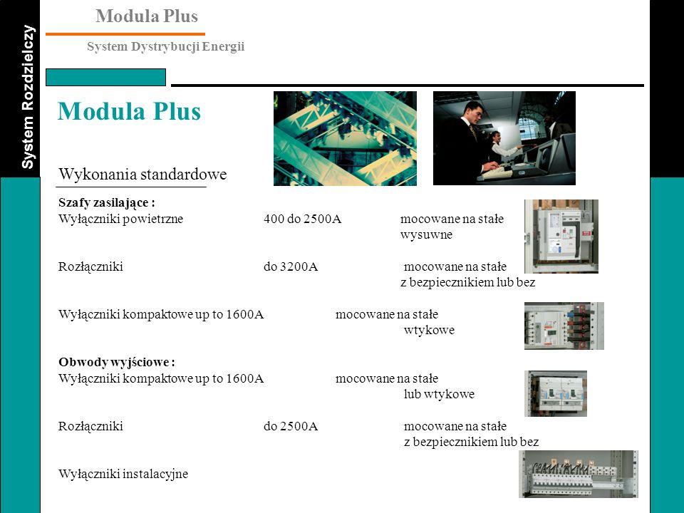 System Rozdzielczy Modula Plus System Dystrybucji Energii Modula Plus Wykonania standardowe Szafy zasilające : Wyłączniki powietrzne 400 do 2500Amocow